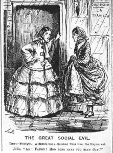 """A cartoon from Punch magazine from 1857 illustrating the use of """"gay"""" as a euphemism for prostitution. One woman says to the other (who looks glum), """"how long have you been gay?"""""""