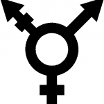 A Transgender symbol, a combination of the male and female sign with a third combined arm representing Transgender people.